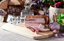 Vodka and smoked meat Royalty Free Stock Image