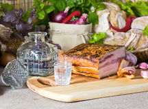 Vodka and smoked meat royalty free stock photo