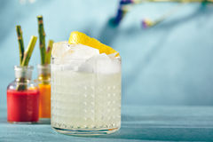 Vodka Sour Cocktail. Summer Vodka Sour - Cocktail with Vodka, Sugar Syrup, Lemon Juice and Egg White stock image