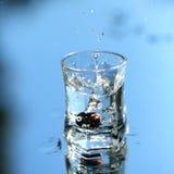 Vodka splash on blue. Glass with splashed vodka on blue background Royalty Free Stock Images