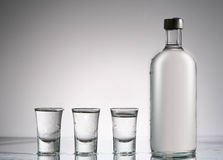Vodka still bottle and glasses Royalty Free Stock Images