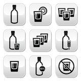 Vodka, strong alcohol buttons set. Vodka bottle and glass vector buttons set isolated on white Royalty Free Stock Photography