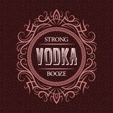 Vodka strong booze label design template. Patterned vintage frame with text on pattern background.  vector illustration