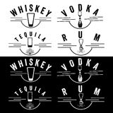 Vodka and tequila vintage labels set Royalty Free Stock Photo