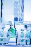 Vodka y vidrios Fotografía de archivo libre de regalías