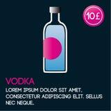 Vodkakortmall med pris och plan bakgrund Arkivfoto