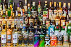 Vodkas Rhum Gin Alcohol liquors drinks bottles Stock Photography