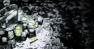 Vodkaskott med limefrukt och is arkivbild