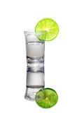 Vodkaskottet med limefruktskivan och saltar På vitbakgrunden Royaltyfria Bilder
