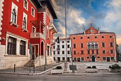 Vodnjan, Pula, Istria, Croatia: People Square in the old town. Vodnjan, Istria, Croatia: the ancient People Square in the town near Pula with the city hall and royalty free stock image