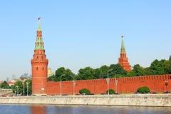 Vodozvodnaya and Borovitskaya towers of the Moscow Kremlin. On a sunny day Stock Image