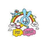 Voe o projeto inspirado alto do cartaz com caráter bonito do coelho ilustração do vetor