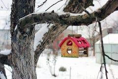Voeder voor vogels op een boom in de winter birdhouse stock foto