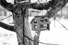 Voeder voor vogels op een boom in de winter birdhouse stock afbeelding