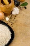 Voeding en gezond voedsel op hout Stock Afbeeldingen