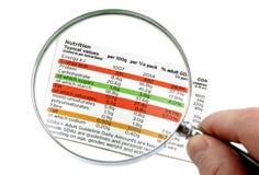 Voedings etiket Stock Foto
