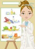 Voedingsdeskundige met Voedselpiramide Royalty-vrije Stock Afbeeldingen