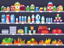 Voedingsmiddelen op winkelplank Supermarkt het winkelen de planken, de showcase van de voedselopslag en de keus pakten de verkoop vector illustratie