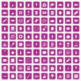 100 voedingspictogrammen geplaatst grunge roze Stock Afbeeldingen
