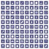 100 voedingspictogrammen geplaatst grunge saffier Stock Foto's