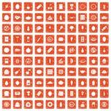 100 voedingspictogrammen geplaatst grunge sinaasappel Royalty-vrije Stock Foto's