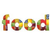 Voedsel binnen woordtekst Stock Foto