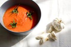 Voedsel dat met tomatensoep wordt geplaatst Stock Afbeelding