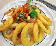 Voedsel - de ringen van de Pijlinktvis Royalty-vrije Stock Foto's