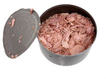 Voedsel: De tonijn in a kan Royalty-vrije Stock Foto's