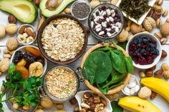 Voedsel die magnesium en kalium bevatten Stock Foto's