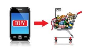 Voedsel die online winkelen Stock Afbeeldingen