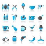 Voedsel, drank en restaurantpictogrammen Stock Foto's