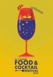 Voedsel en Cocktail de festivalaffiche, ontspant concept Royalty-vrije Stock Fotografie