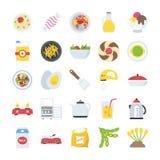Voedsel en de Vector van Drankenpictogrammen Royalty-vrije Stock Afbeeldingen