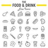 Voedsel en drank de reeks van het lijnpictogram, de inzameling van het maaltijdteken vector illustratie