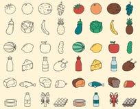 Voedsel en Drank dunne lijnpictogrammen Vruchten en Groenten, Evereday-voedsel Vector Royalty-vrije Stock Foto