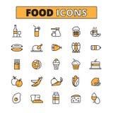 Voedsel en Drank Geplaatste Lijnpictogrammen Stock Foto's