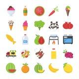 Voedsel en dranken geplaatste pictogrammen Royalty-vrije Stock Foto's