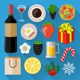 Voedsel en dranken geplaatste pictogrammen Stock Afbeeldingen