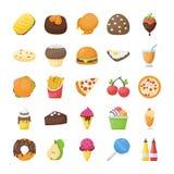 Voedsel en Dranken Vlakke Geplaatste Pictogrammen Stock Afbeelding