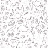Voedsel en drankoverzichts naadloos patroon Hand Stock Foto