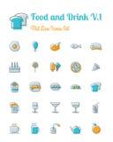 Voedsel en drankpictogrammen geplaatst vlakke lijnstijl Stock Foto