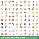 100 voedsel en geplaatste drankenpictogrammen, isometrische 3d stijl Stock Afbeeldingen