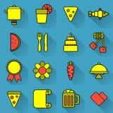 Voedsel en het koken reeks heldere gekleurde pictogrammen op blauwe achtergrond Zuurrijke ongebruikelijke pictogrammen over het k Stock Foto's