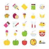 Voedsel en het Pak van Drankenpictogrammen Stock Afbeeldingen