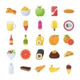 Voedsel en het Pak van Drankenpictogrammen Stock Fotografie