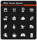 Voedsel en keuken eenvoudig pictogrammen Stock Fotografie