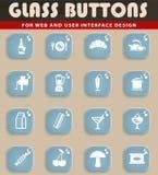 Voedsel en keuken eenvoudig pictogrammen Stock Afbeelding