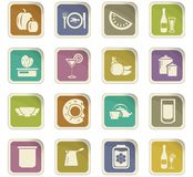 Voedsel en keuken geplaatste pictogrammen Stock Foto