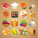 Voedsel en Keukentoebehorenpictogrammen Set1 1 Royalty-vrije Stock Afbeelding